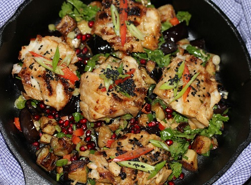 Miso Cod with Spring Onion, Eggplant and Pomegranate Salad - America's ...