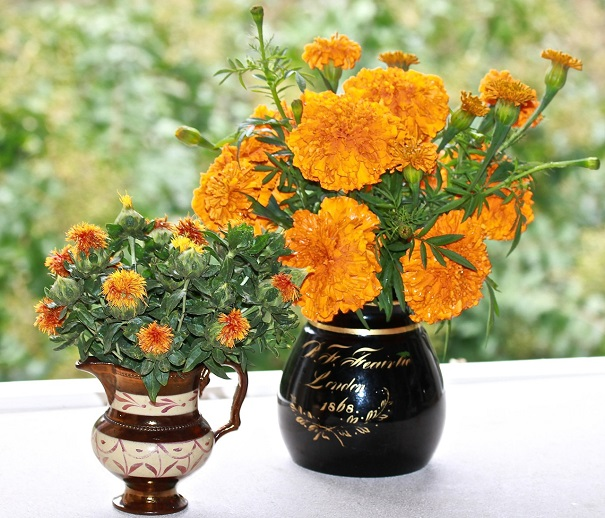 The Black picture is filled with Marigolds and the metallic orange pitcher is filled with Safflowers