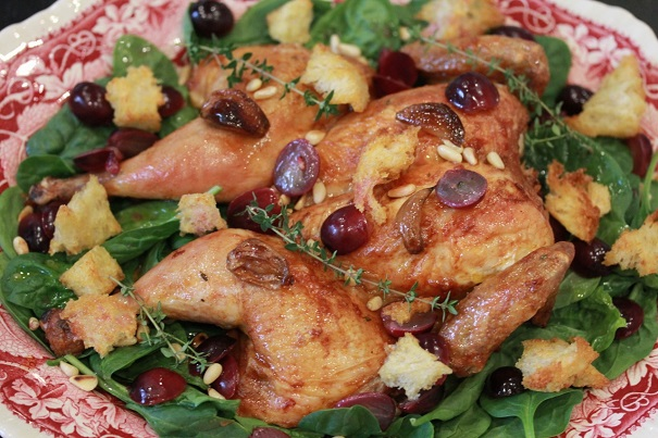 Spatchcock Chicken with Grapes and Pine Nuts 2