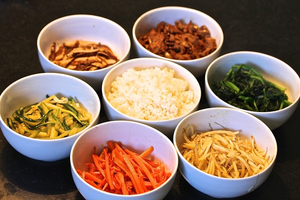Korean Bibimbap ingredients in bowls
