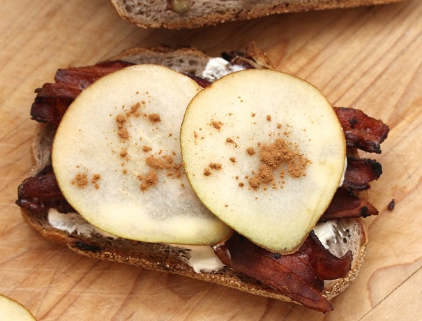 Bacon Pear Fromage and Cinnamon on Fruit and Nut Bread Sandwich on America's Table