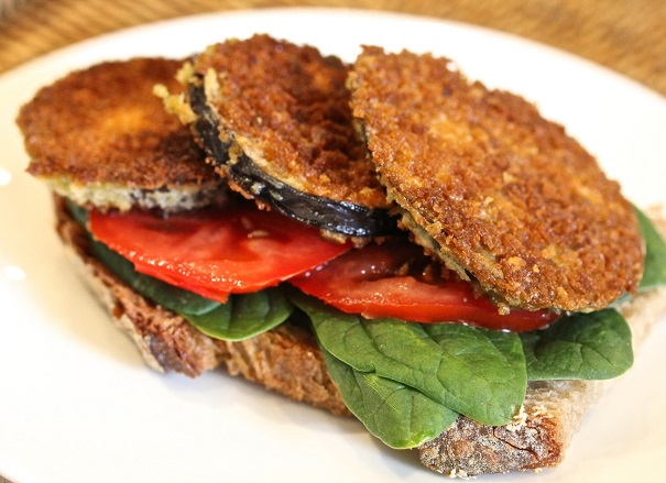 Eggplant, Spinach and Tomato Sandwich on America's Table