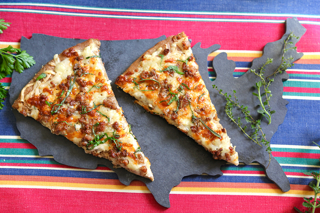Herbed Spelt White Pizza with Italian Sausage