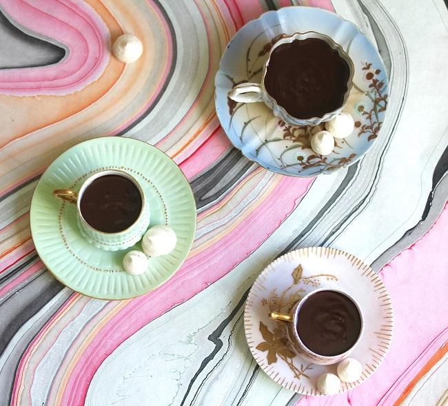 Three mugs of hot chocolate
