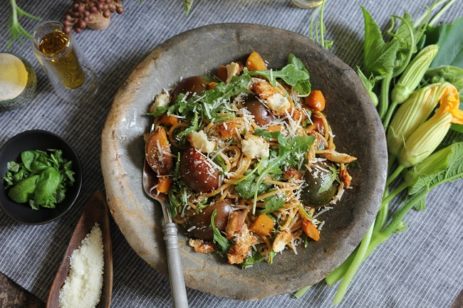 PASTA WITH PUMPKIN AND HEIRLOOM TOMATOES
