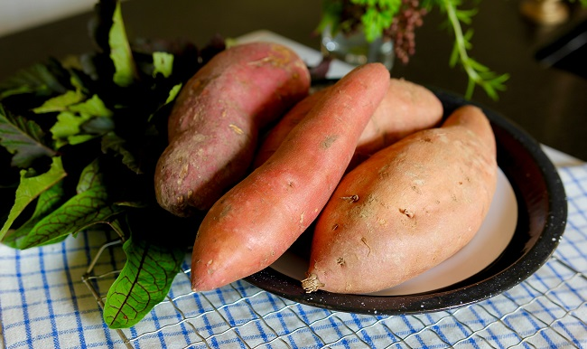 Cooked and cooled sweet potatoes